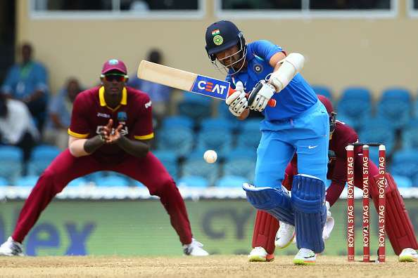 Ajinkya Rahane of India plays the ball during the match