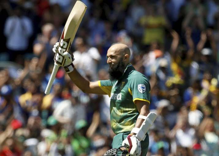 Hashim Amla celebrates his 100 during the ICC Champions