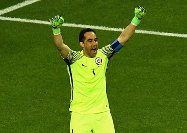 Claudio Bravo celebrates Chile's win over Portugal in