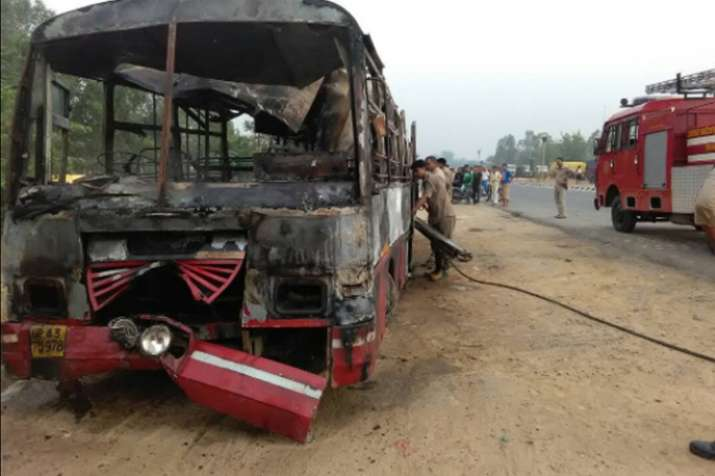 22 charred to death after bus collides with truck in UP's