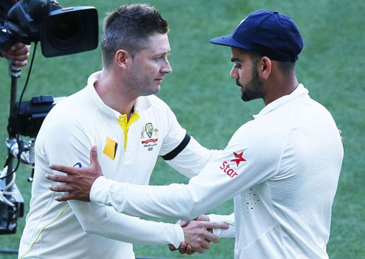 A file image of Michael Clarke and Virat Kohli.