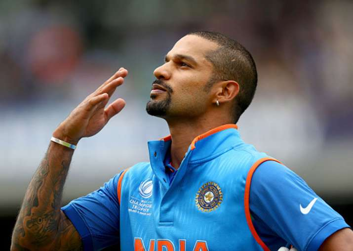 Shikhar Dhawan reacts after slamming a hundred against Sri