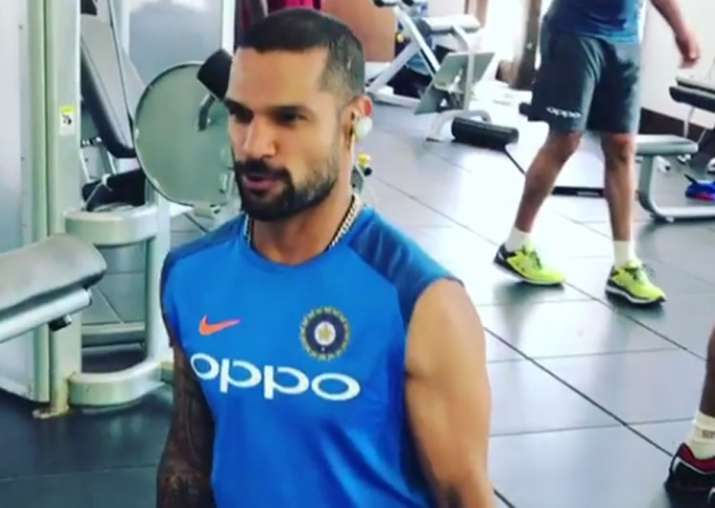 Shikhar Dhawan works out in the gym.