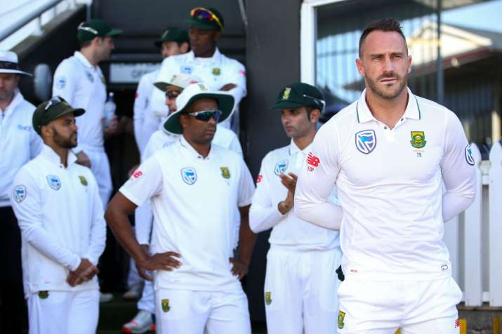 Faf du Plessis of South Africa looks on during the match