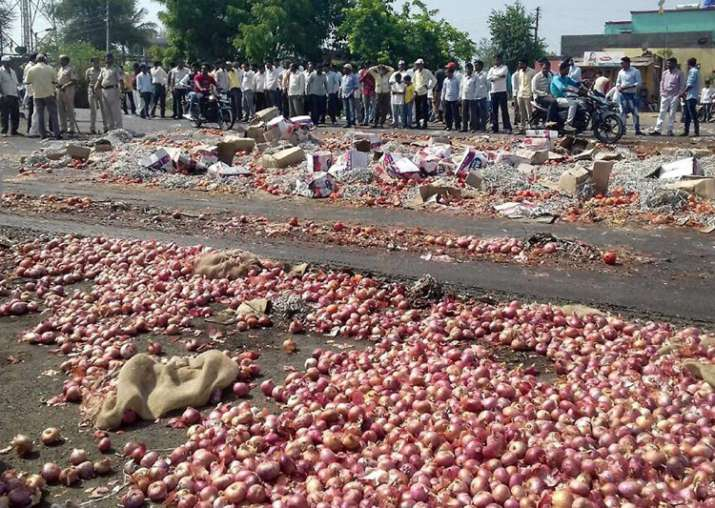 Nashik farmers throwing onions and vegetables during their