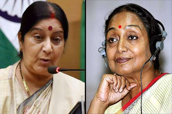 Sushma targets Meira Kumar using video of her Speaker days,