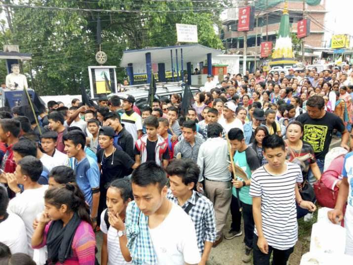 GJM supporters during their protest in Darjeeling on