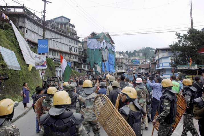 Security personnel during a protest by GJM in Darjeeling