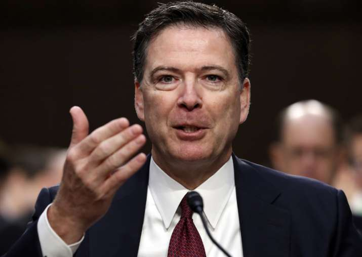 James Comey speaks during a Senate Intelligence Committee