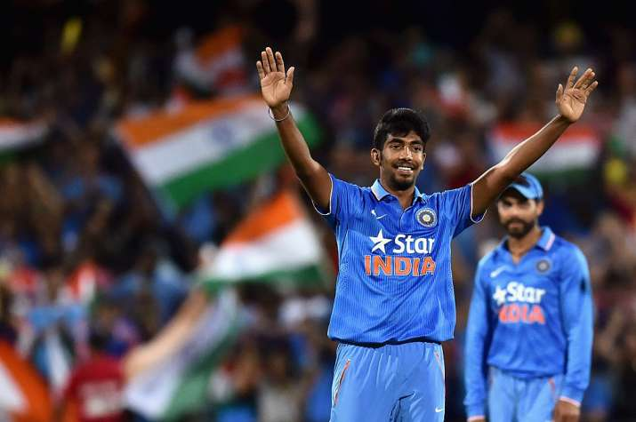 Jasprit Bumrah of India reacts after taking the wicket