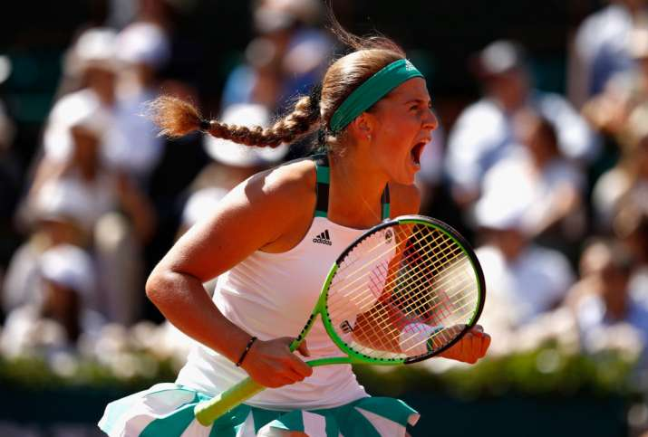 Jelena Ostapenko of Latvia celebrates a point