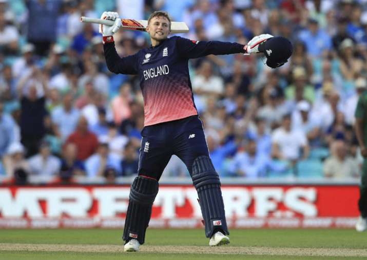 Joe Root celebrates his side beating Bangladesh by eight