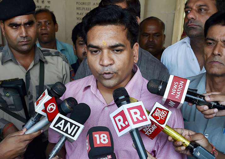 File pic of sacked Delhi minister Kapil Mishra