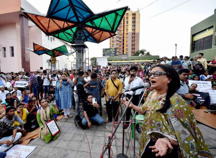 India Tv - Eminent film director Aparna Sen addresses during a protest in Kolkata