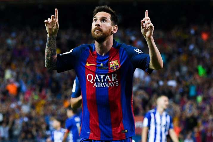 Lionel Messi of FC Barcelona celebrates after scoring a