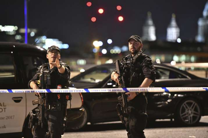 Police cars in the area of London Bridge after terror