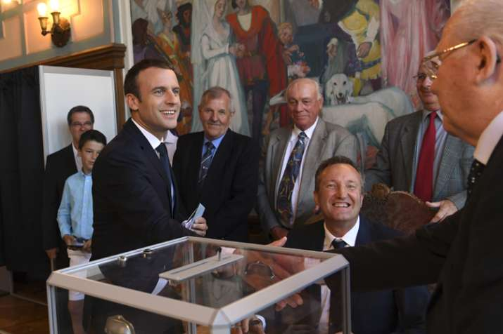 Macron after casting his ballot in French parliamentary