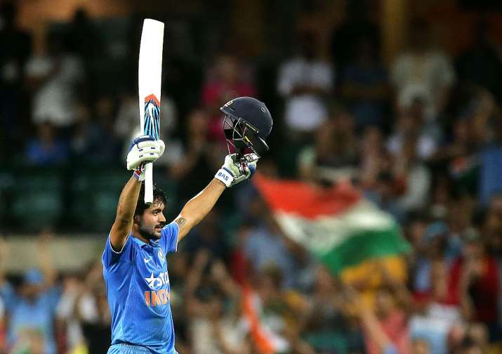 Manish Pandey of India celebrates and acknowledges the crowd