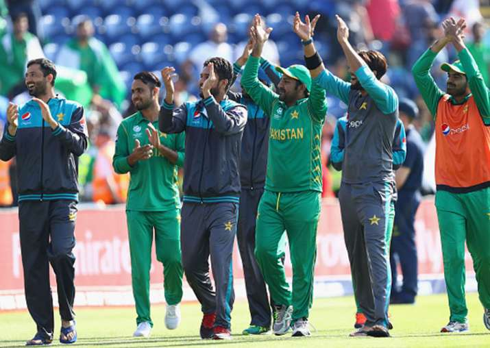 Pakistan players celebrate their victory over England.