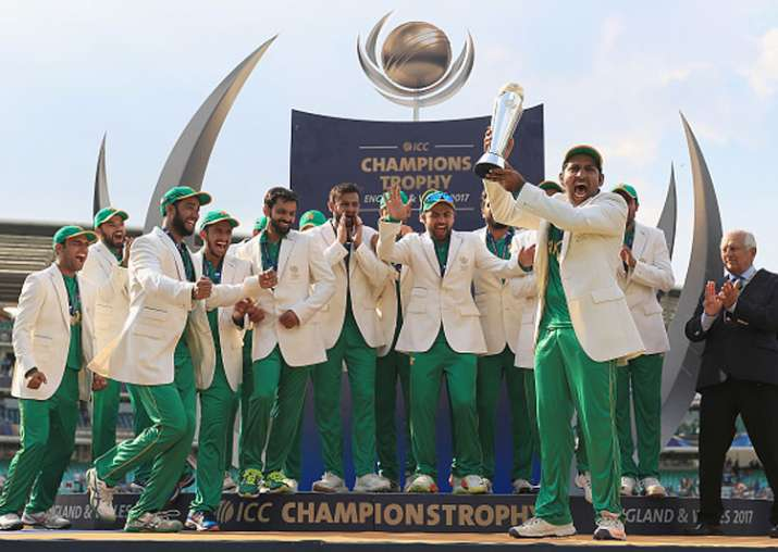 Pakistan celebrate their Champions Trophy 2017 triumph.