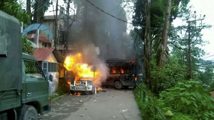 India Tv - Police Vehicles torched by GJM supporters in Darjeeling on Thursday