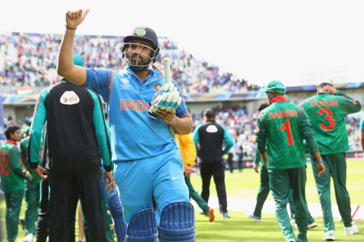 Rohit Sharma of India celebrates his match winning