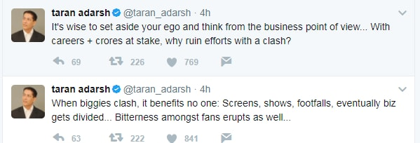 India Tv - Taran Adarsh backed the decision to avert the clash