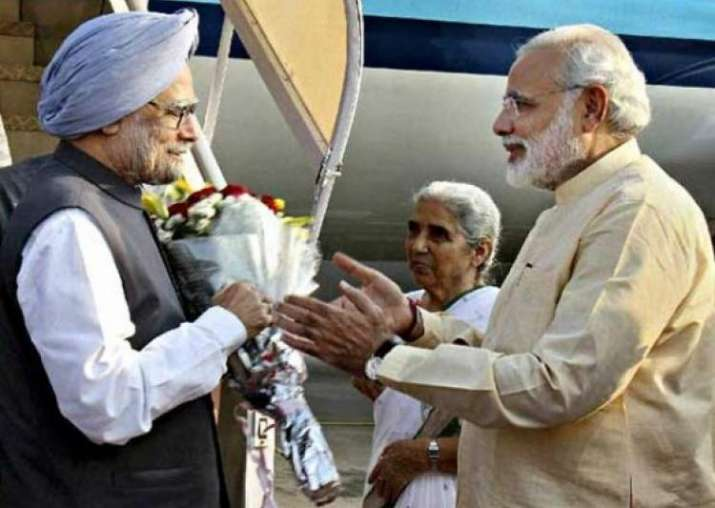 File pic. Former PM Manmohan Singh with his successor