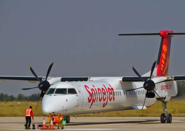 SpiceJet aircraft overshoots wet runway, gets stuck in mud