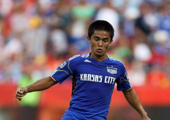 Sunil Chhetri controls the ball during the game