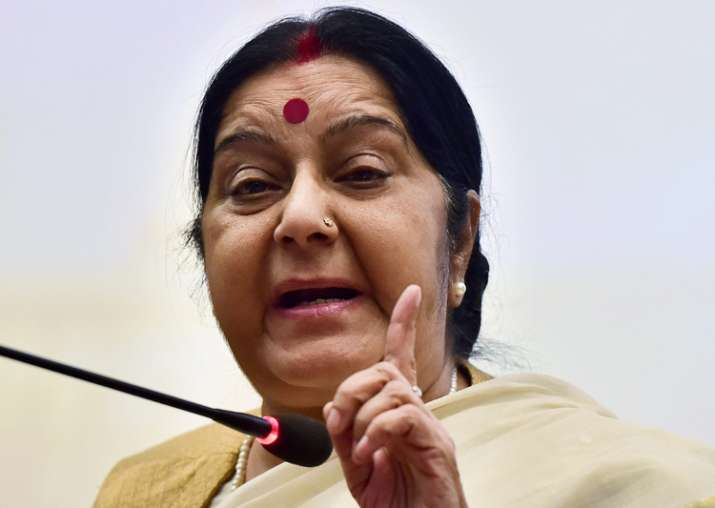 External Affairs Minister Sushma Swaraj speaks to media in