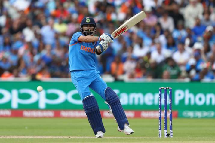 Virat Kohli of India pulls a delivery to the legside