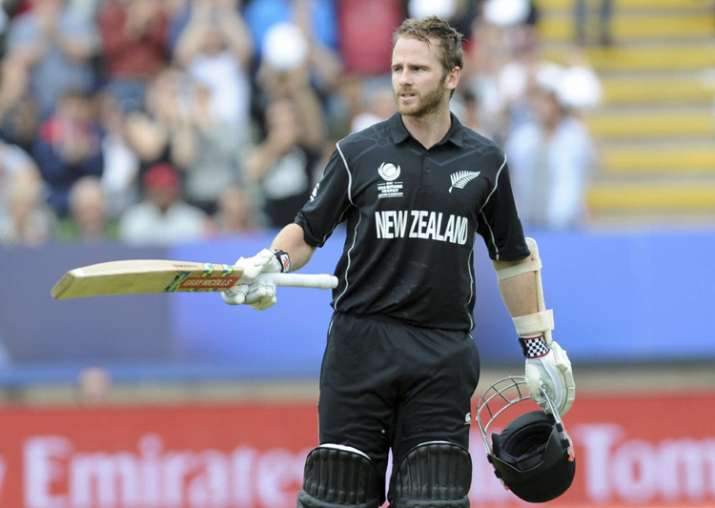 NZ captain Kane Willliamson celebrates after scoring a