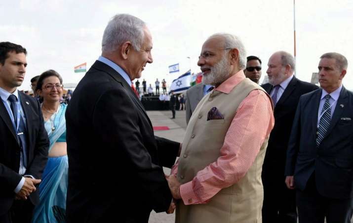 PM Modi being seen off by Netanyahu as he emplanes for
