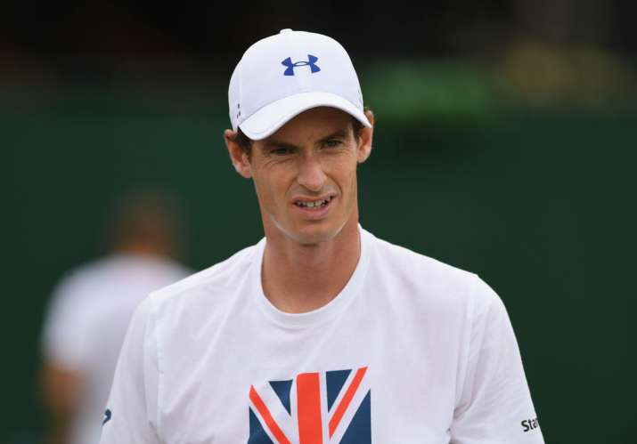 Andy Murray of Great Britain during practice at Wimbledon