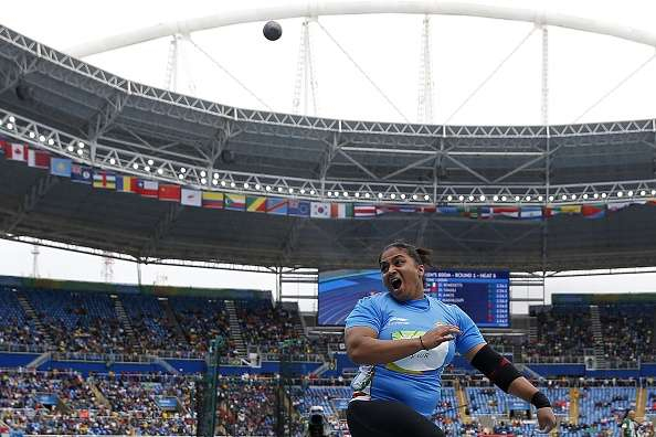Manpreet Kaur of India competes in the Women's Shot Put