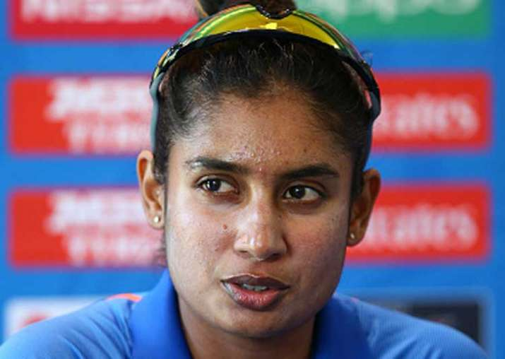 Mithalii Raj speaking at the post-match conference