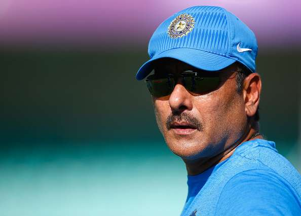 Ravi Shastri of India during the training session
