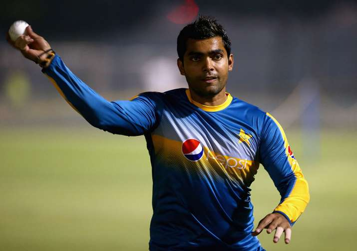 Umar Akmal of Pakistan in action during a net session