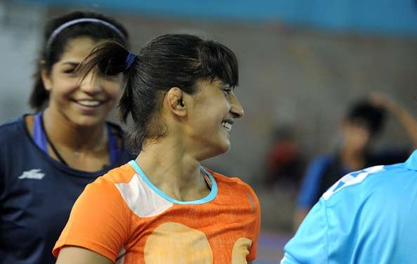 Vinesh Phogat takes part in a practice session at a Sports