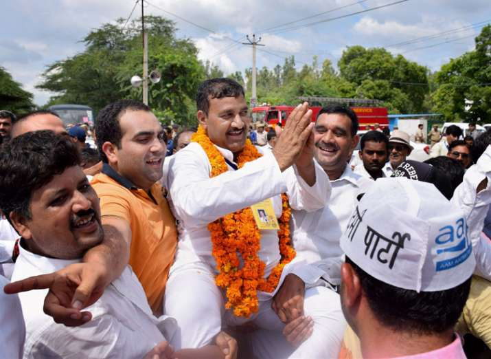 AAP's Ram Chander won the Bawana by-election today