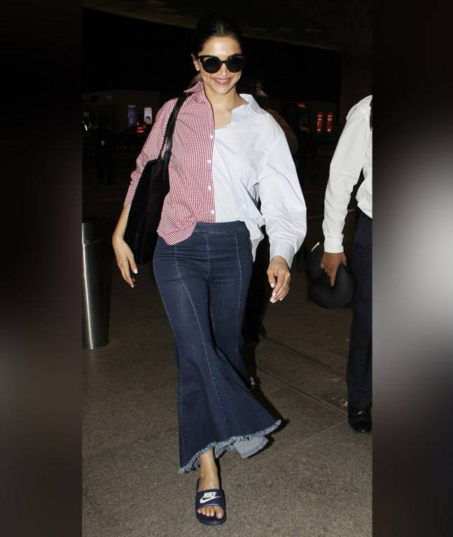 India Tv - Deepika Padukone in a pink and white shirt