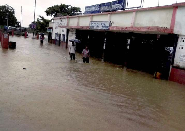 India Tv - West Champaran: A view of the flooded Narkatiya Ganj Station