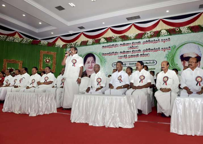 AIADMK leaders at party's General Council meeting in
