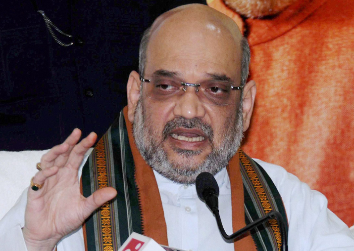 Amit Shah addresses a press conference in Ranchi