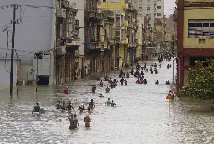 India Tv - A flooded street in Havana, Cuba during Hurricane Irma