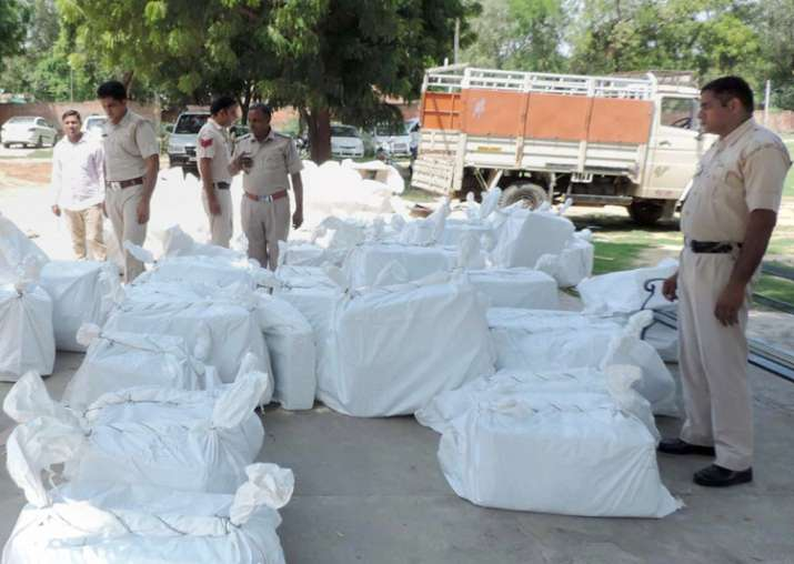 Sirsa: Police with recovered cartons of firecrackers and
