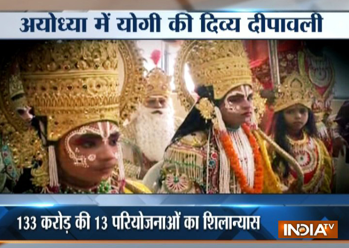In chopper decorated as 'Pushpak Viman', 'Lord Ram' returns to Ayodhya
