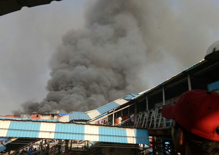 Massive fire breaks out Bandra railway station in Mumbai