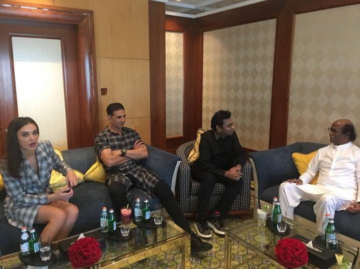 Rajinikanth and Akshay Kumar at 2.0 pre-audio launch